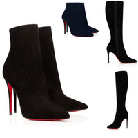 Donne di modo Scarpe da donna Parigi Donna Red Bottom Boots Stivaletti Stivaletti Stivaletti Bottino Moda Donna Black Suede Leather Sexy Red Poles Tacchi alti Qualità