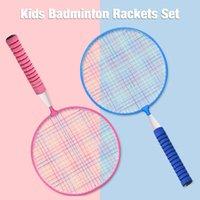 새로운 야외 스포츠 게임 피트니스 장난감 배드민턴 세트 블루 핑크 야외 엔터테인먼트 훈련 어린이 성인 편안한 배드민턴 라켓 세트