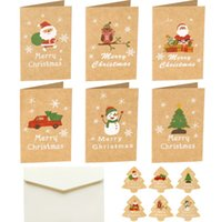 Christmas greeting card Retro kraft paper Merry Christmas Santa Claus blessing cards Thanksgiving New Year gift card