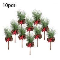 10 قطع عيد الميلاد التوت الأحمر والاختيار مخروط الصنوبر مع فروع هولي الزهور ديكور