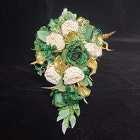 Buquês de noivas Rosas Verdes Gloden Calla Lírio Cascata Cascata Bouquet Cachoeira Flores de Casamento Artificial Bouquet Bouquet Noiva