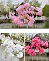 1m 긴 4 가지 분기 각 꽃다발 인공 벚꽃 꽃 사쿠라 트리 지점 결혼식 아치 문 장식 꽃 4A