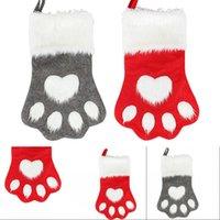 Ornamento do Natal de 2020 Bolsas Árvore Meias Xmas da pata do cão Stocking saco vermelho longa cinzenta Plush Detalhes no presente 11 5g G2