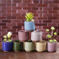 الجليد متصدع البسيطة السيراميك زهرة وعاء ملون لطيف زهرية لسطح المكتب الديكورات لحمي بوعاء النباتات المزارعون 8 ألوان AHF2276