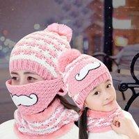 Sombreros, bufandas Guantes conjuntos 3pcs / set Set de bufanda de invierno Sombrero de punto con punto de punto cubierta de cara al aire libre para mujeres / niños 2021 y mujeres niñas1