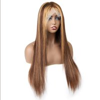 Meetu Highlight Ombre Color Transparent 13*1 Frontal Human Hair Wigs Lace Front Wig Body Wave Straight Brazilian for Women All Ages 8-26inch