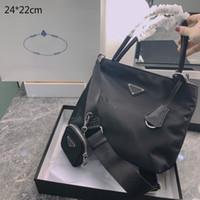 2021 Luxury Women Bols Bolsos Monederos Diseñadores Crossbody Bolsos de hombro de 2 piezas Black Totes Brand Bols Bols Bolsos Nylon con Tag Triangle Fashion StylePD21010601