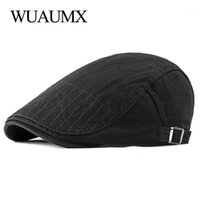 Wuaumx 여름 가을 베레모 남성 여성 바이저 첨단 평면 모자 솔리드 코튼 Duckbill 모자 화가 베레모 모자 도매 Boina Hombre1