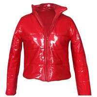 Moda Invierno Patente Cuero Burbuja Capa de Burbuja Cremallera Impermeable Cotton Pedded Chaqueta Red Chaqueta Mujer Parkets Chaquetas 201026