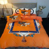 Novo alaranjado desenhista conjuntos de cama capa de veludo rainha cama edredons conjuntos de travesseiros Cavalo impressão de cavalo king size conjuntos de cama king