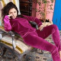 Hiloc Sólido Manga Larga Velvet Pijamas Tops y Pantalones Invierno Pijamas Mujer Sleepwear Warm Slim Night Use Autumn Home Suits 201027
