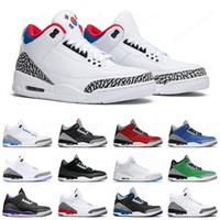 Nike Air Jordan Retro 3 Seoul Chaussures de basket-ball pour hommes Fragment Court Purple Black Cement Free Throw Line Fire Red 3s UNC Mens Trainer Sports Sneakers