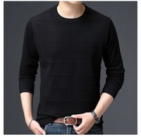 Mens Striped Long Sleeve Tshirt Crew Neck Slim Fit Tees Male Solid Color Top
