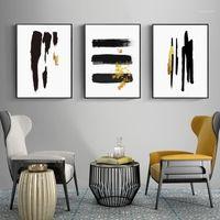 Peintures Abstrait Black Gold Brush Line Minimaliste Toile Peinture Mur Art Affiche Imprimé Photos Salon Maison Intérieur Décoration1