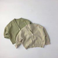 Jersey Milancel 2021 Kids Sweaters V Cuello Girls Knitwear Boys Suéter Solid Breve Cardigans