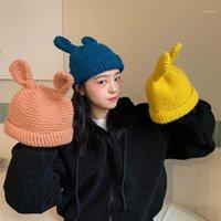 Ухо вязаная шапка шерстяная шляпа женская осень зима корейская версия сладкая и милая мода дыня кожа новое прибытие1