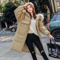 Mulheres para baixo Parkas 2021 Moda Extra Long Bolso Mulheres Jaqueta de Inverno Algodão Acolchoado Quente Engrenado Big Collar Coats Parka Womens Jacket