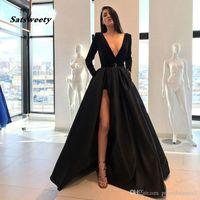 Vestidos Vestido 2021 Nueva Llegada Larga Prom Partido Vestidos de noche Vestido Satén Robe de Soiree Elegante Vuelo Sexy Slit Slit Velor