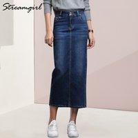 StreamGirl Donne Denim Skirt Long Saia Jeans Gonna da donna Gonna Denim Gonne per le donne Estate Vintage Black Long Gonne Femminile Saia Y200704