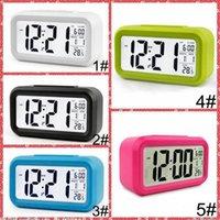 كتم الصوت المنبه البلاستيك LCD الذكية ساعة درجة الحرارة لطيف إنذار حساس السرير الرقمية على مدار الساعة غفوة الليل التقويم IIA855