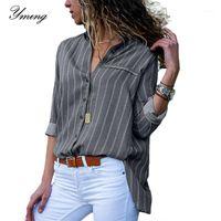 YMING Çizgili Baskı Boho Kadınlar Bluz Düğme Şifon Tops Ofis Uzun Kollu Bluz Gömlek Casual Tunik Sıra Yaka Blusas1