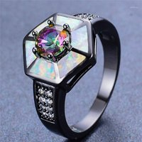 Boho femmina Blu Bianco anello opale anello vintage 14kt nero anelli di nozze in oro per le donne Promise Rainbow Stone Engagement Ring1