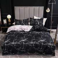 Black and White Color Bed Linens Marble Reactive Printed Duvet Cover Set for Home housse de couette Bedding Set Queen Bedclothes 201118
