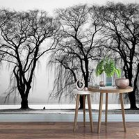 Пользовательские фото обои 3d черно-белое дерево пейзаж варежная гостиная телевизор спальня исследование дома декор papel de parede sala 3 d1