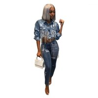 Chaqueta Agujero Sexy Single Breasted Manga Larga Abrigos Azules Famale Ropa de calle High Street Mujer Tassel Denim
