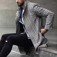Мужская траншея пальто осени зима мужские пальто мужской теплые одежды шерстяные ваты длинные черные белые плед смесистые пальто плюс размер1