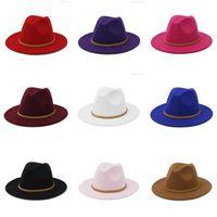 Jazz officiel panama Cap homme femme chapeaux Fedora en feutre hiver casquettes large Brim Hommes Femmes Trilby femme Lady Chapeau accessoires de mode chaud NOUVEAU