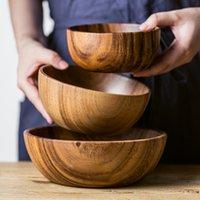 Natürliches Akazienholz Salat Suppe Großer Kleines Servieren von Lebensmitteln Containern Küchenutensilien aus Holz Geschirr C1108