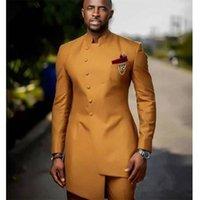Afrika Altın Saten Slim Fit Erkekler Takım Elbise Düğün Damat Smokin Damat Suits Ön Düğme En Iyi Adam Balo Blazer Ceket + Pantolon Y201026