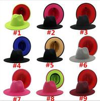 عيد بنما قبعة الجاز قبعة رسمية سيدة فيلت فيدورا القبعات الأزياء خليط واسعة بريم قبعات للجنسين trilby changeau للرجال النساء الأحمر الأسود