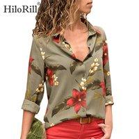 Hilorill النساء البلوزات الأزهار طباعة طويلة الأكمام رفض طوق بلوزة قميص مخطط تونك زائد الحجم blusa Chemisier Femme 201126