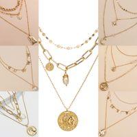 Collier goutte papillon perle de chaînes d'or multicouche femmes collier ras de cou bijoux de mode collier et cadeau de sable