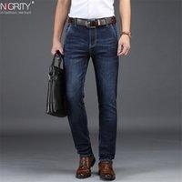 Nigrity Mens Jeans Business Casual Curé Coupe Bleu Blue Jeans Stretch Denim Pantalons Pantalons Classic plus grand taille 28-42 201223