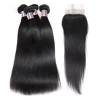Pacotes de cabelo humano da onda profunda brasileira com fechamento cabelo peruano 4 pacotes onda do corpo da malaia profunda extensões de cabelo solto