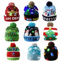 Christmas Hat Sweater Knitted Light-up Xmas Cap Beanie Sweater LED Light Home Christmas New Year Gift for Kids Xmas Decoration