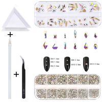 Nail Art Süslemeleri 2220 ADET Taşlar Taşlar Çivi 3D Craft için Çok Şekilli Kristal AB Cam Flatback Rhinestones