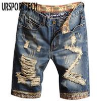 URSPORTTECH Erkek Kot Şort Delik Boya Kişilik Denim Pantolon Moda Skinny Basit Pamuk Rahat Erkek Jeans Tahrip
