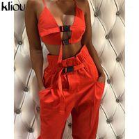 Женские трексуиты Kliou Sexy Crop Top Brap Button для женщин две части наборы 2021 по прибытии Сплошные женские повседневные брюки Карманы Tanksuits1