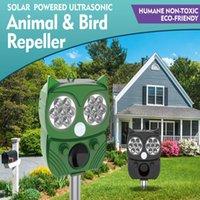 Ultrasonik olan su geçirmez açık hayvan kovucu, kuşları, rakonları ve diğer vahşi hayvanları korkutmak için led flaş, hareket sensörü