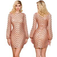 Or plein manches robe de bal sexy Paillettes Mini robe de soirée O-Neck Retour Zipper robe de cocktail Robes de motif rayé