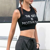 Women Fashion Letter Printed Yoga Tops Sleeveless Crop Tops ...