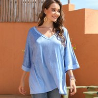 2020 Mavi Bluz Kadınlar Yarım Kol V Yaka Gömlek Sonbahar İlkbahar 2020 Şık Gevşek blusas Oversize Basit Mujer De Moda yazdır