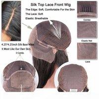 Glueless полный шелковый шелковый шелковый базовый вьющиеся парики с детскими волосами Pre offed Virgin Brazilian Hair Silk Top кружева передний парик человека
