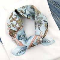 Lady Silk Pequeno Quadrado Pescoço Lenços Cabelo Fita Foulard Mulheres Design Cópia Cabeça de Neclavar a Headband Envoltórios do Laço Acessórios do lenço1
