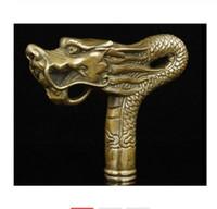 素晴らしい中国の古い手仕事の青銅のドラゴン像杖頭杖。