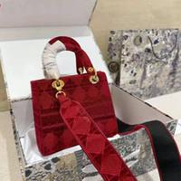 디자이너 럭셔리 핸드백 지갑 숙녀 24cm 자수 벨벳 숄더 백 패브릭 크로스 테두리 싱글 룸 핸드백 고품질 가방